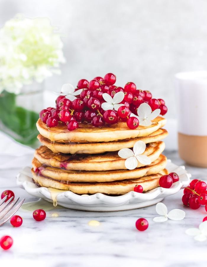 Easy Vegan Fluffy Pancakes on kitchen counter