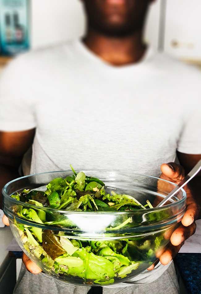 Holding a salad bowl