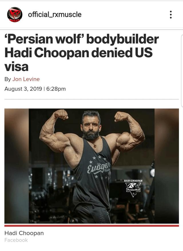 refus de visa US pour le bodybuilder perse Hadi Choopan