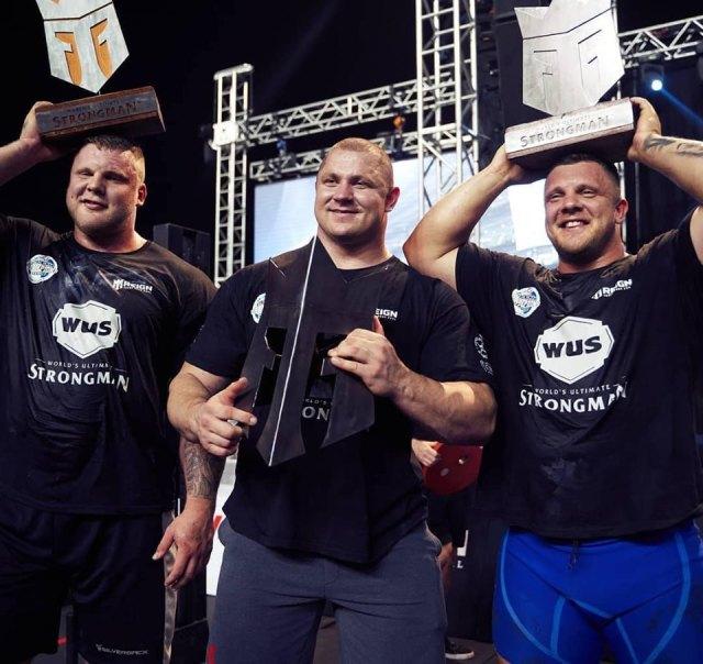 Le podium du World Ultimate Strongman 2019 à Dubaï