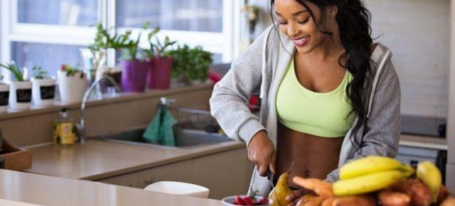 a girl preparing healthy meal