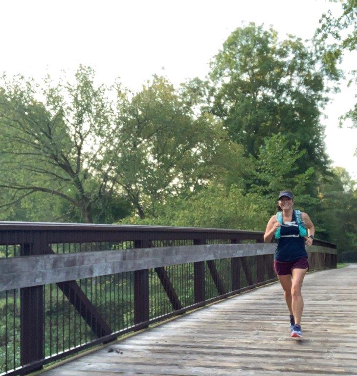 Running one of the bridges on the Neuse River Greenway in Raleigh