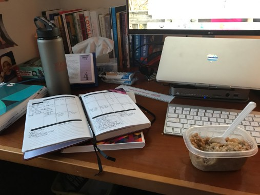 journaling, drinking water and eating steel cut oats