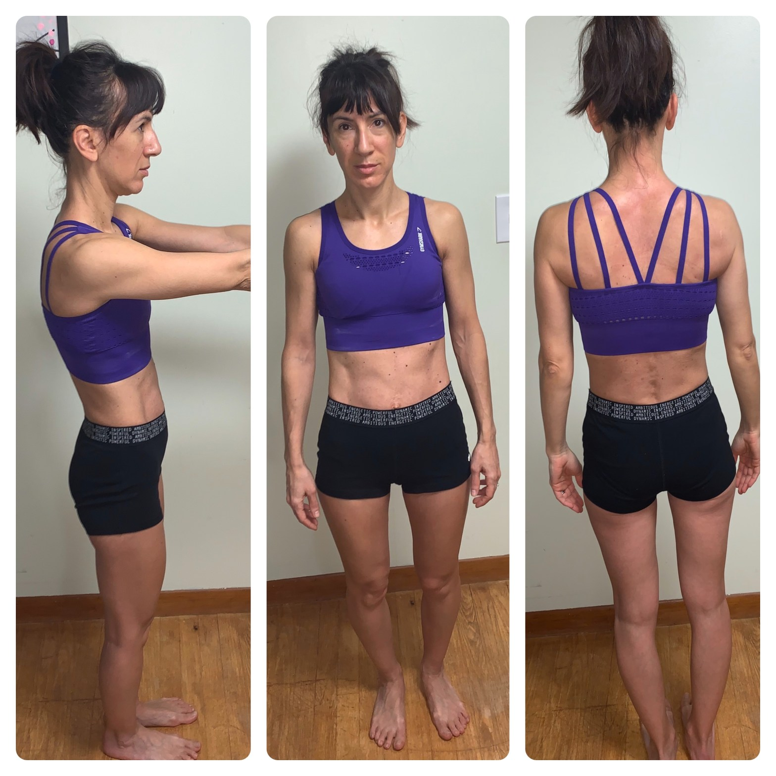 before photos posing to show glute muscles