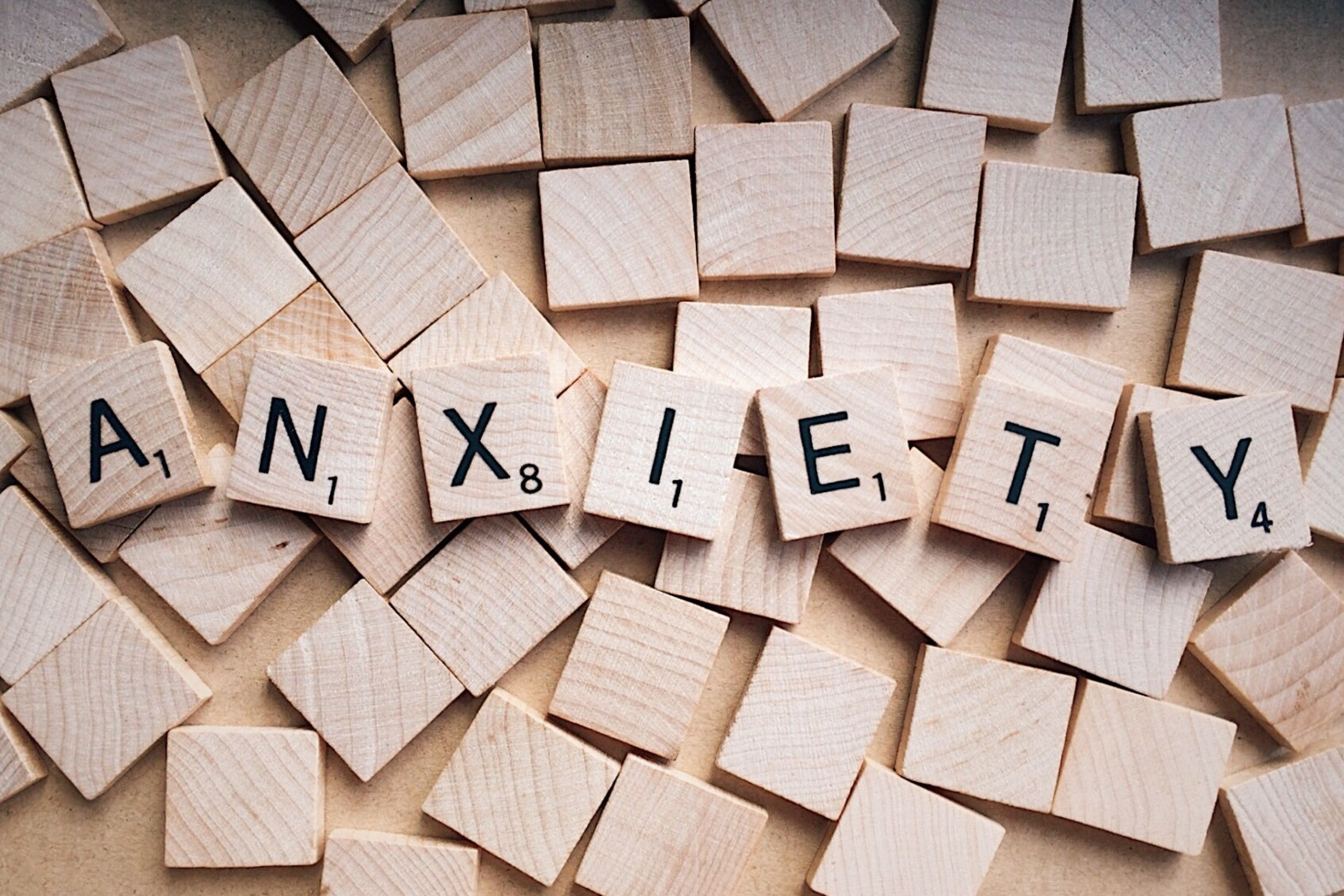 anxiety spelled out in Scrabble tiles