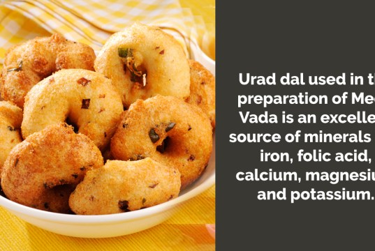 How many calories are there in a Medu Vada & does it have any health benefits?