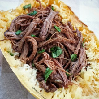 Slow Cooker Chipotle Beef in Spaghetti Squash