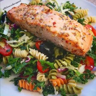 Greek Marinated Salmon & Greek Pasta Salad w/Kale