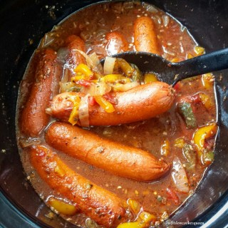 Slow Cooker Sausage, Onion & Peppers