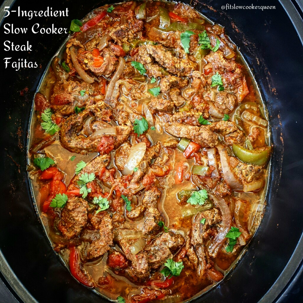 5-Ingredient Slow Cooker/Instant Pot Steak Fajitas (Low-Carb, Paleo, Whole30)