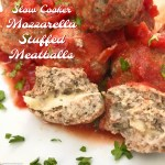 Mozzarella stuffed meatballs! This healthy slow cooker meatballrecipe only uses a few ingredients and is an absolute crowd pleaser.