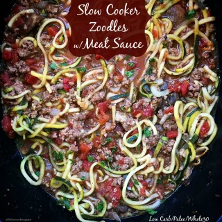 Slow Cooker Zoodles with Meat Sauce (Low-Carb,Paleo,Whole30)