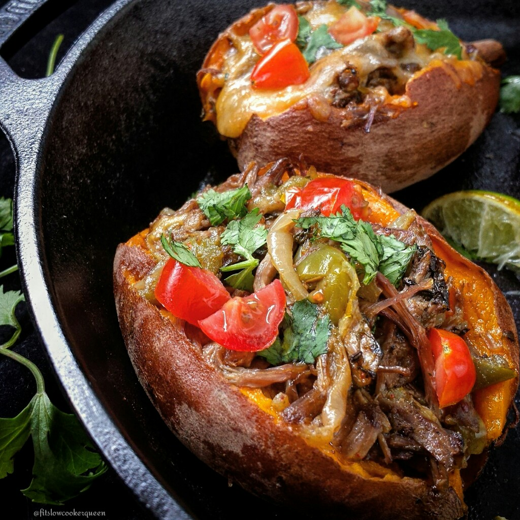 Slow Cooker Carne Asada Stuffed Sweet Potatoes