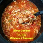 Cajun chicken and sausage cook together with tomatoes and a few spices in this light and healthy creole-inspired slow cooker meal.