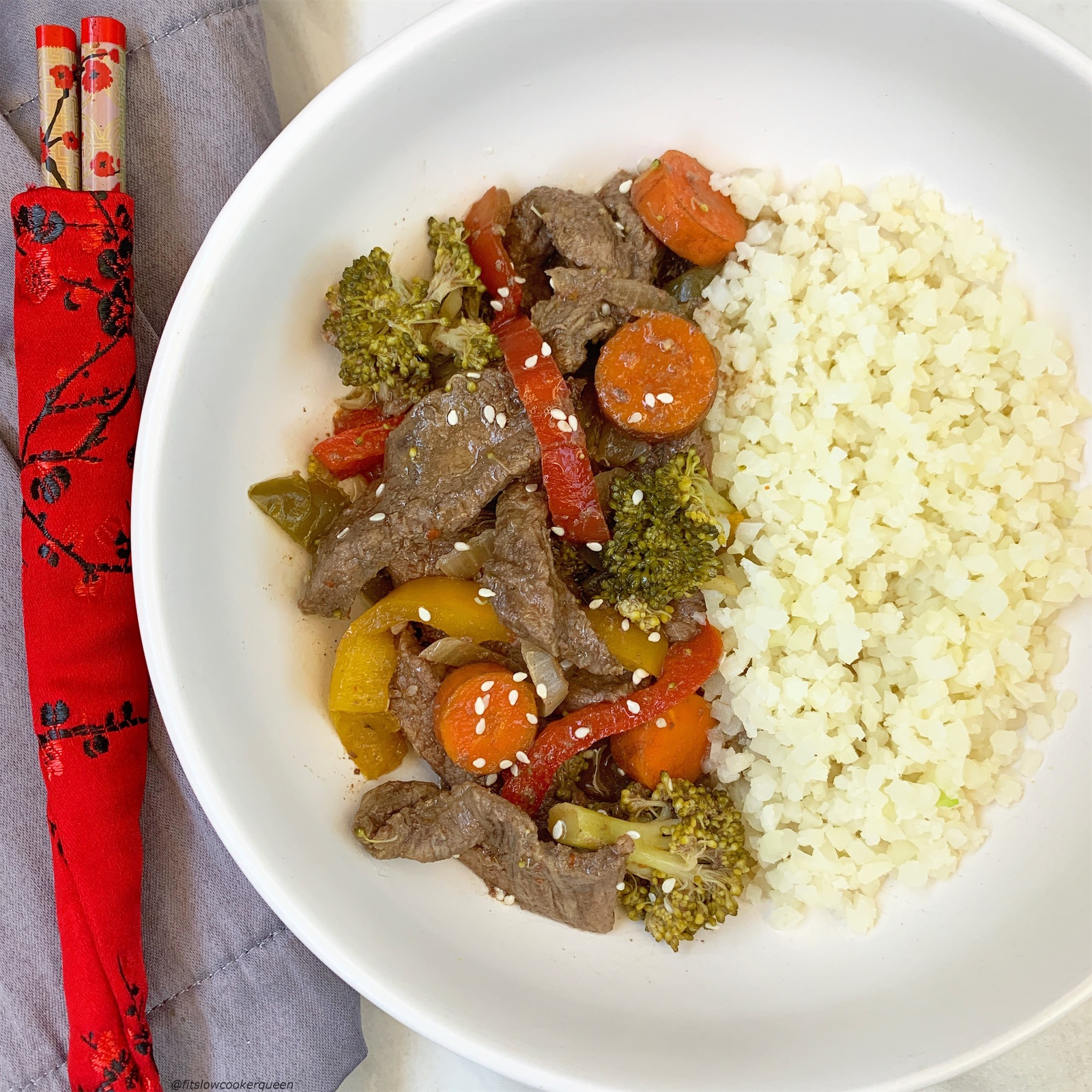 Healthy beef stir-fry made in the slow cooker or Instant Pot! This paleo, whole30, and gluten-free recipe is healthy but still has the flavors of your take-out.