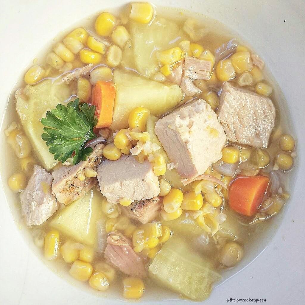 Slow Cooker Skinny Turkey Corn Chowder