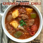 This chunky chili will hit the spot but not the waistline. Bean-free, paleo, and whole30 compliant, it includes chunks of stew meat, sweet potatoes, onions, and bell peppers. Healthy comfort food!