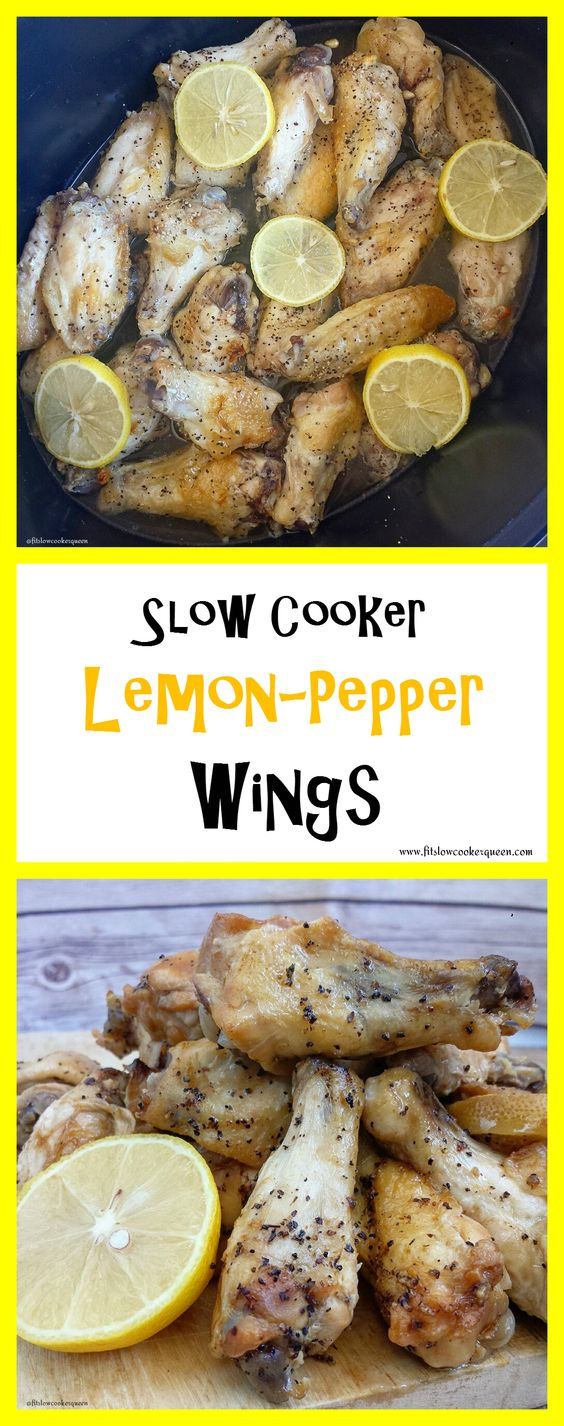 A light, homemade lemon-pepper sauce slow cooks with wings for this healthy game day appetizer. This recipe is whole 30 compliant, paleo and a crowd pleaser.