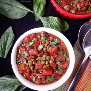 Slow Cooker Bruschetta & Lentil Stew