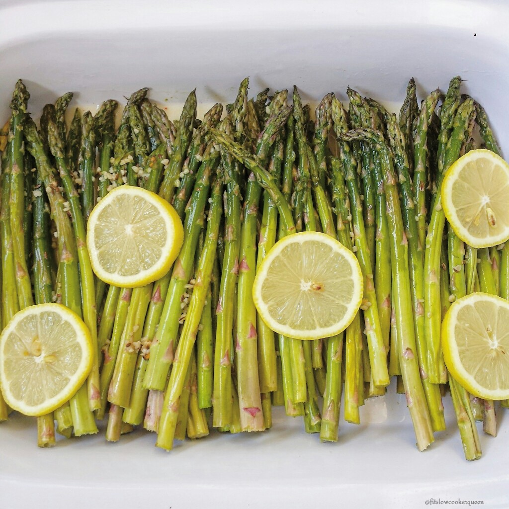 Slow Cooker Lemon Garlic Asparagus