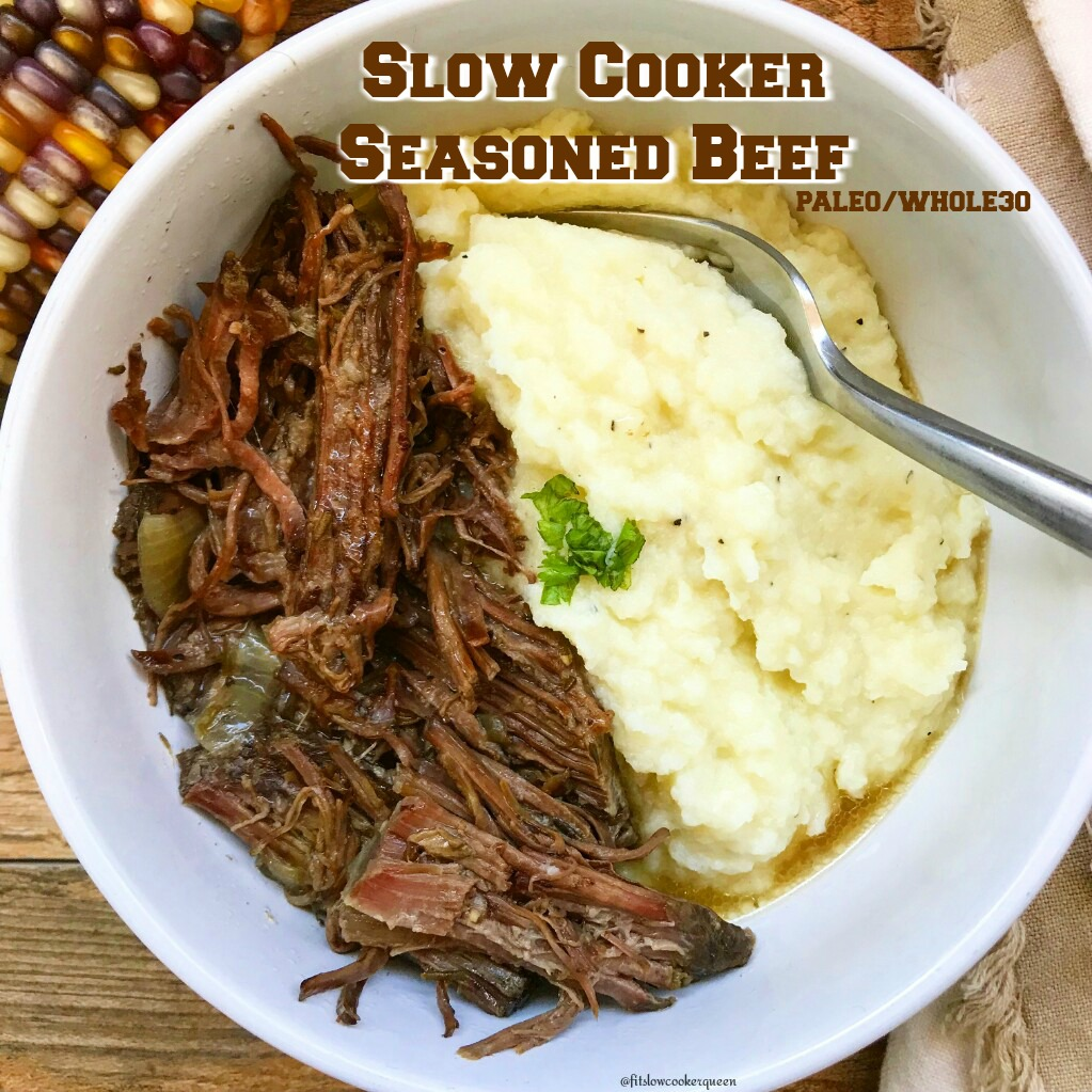 This seasoned beef cooked in the slow cooker can be served as a Sunday roast or shredded down for tacos or a salad topping.