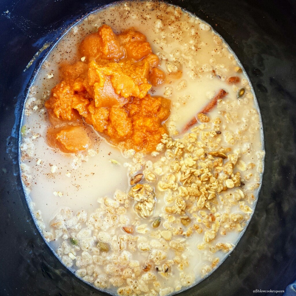 slow cooker pumpkin granola oatmeal