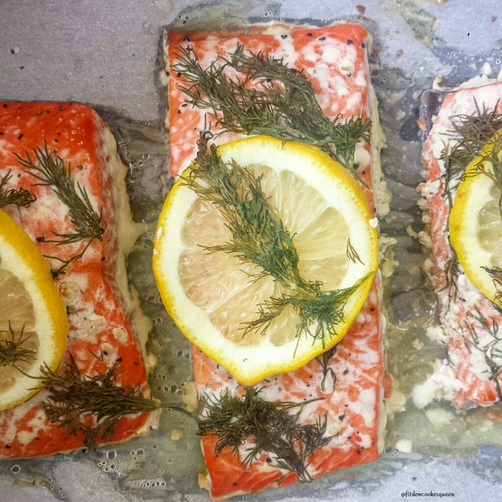 slow cooker salmon lemon dill 3