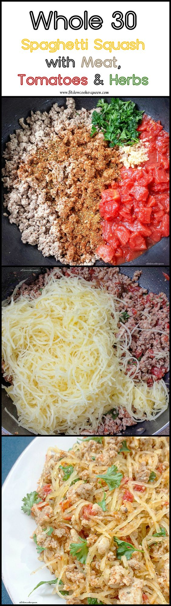 This healthy and simple low-carb, paleo, and whole 30 compliant one-pot meal consists of spaghetti squash, ground meat, diced tomatoes and fresh herbs.
