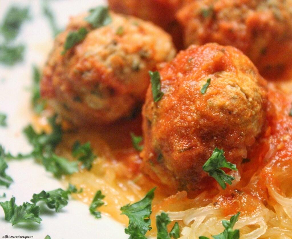 slow cooker spaghetti squash & meatballs 5