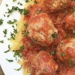 Spaghetti squash and homemade, whole30/paleo meatballs cook together in this super easy and healthy one-pot meal.