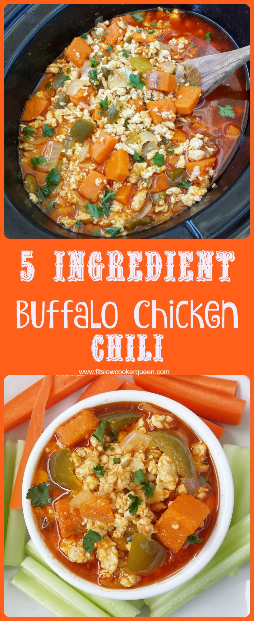 5 ingredient slow cooker Buffalo chicken chilli pin