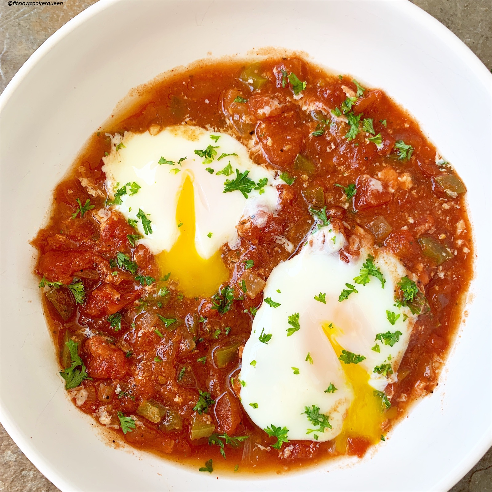 Shakshuka is simple yet flavorful Middle Eastern dish made with tomatoes, eggs, and spices. Make this recipe in your slow cooker or Instant Pot.