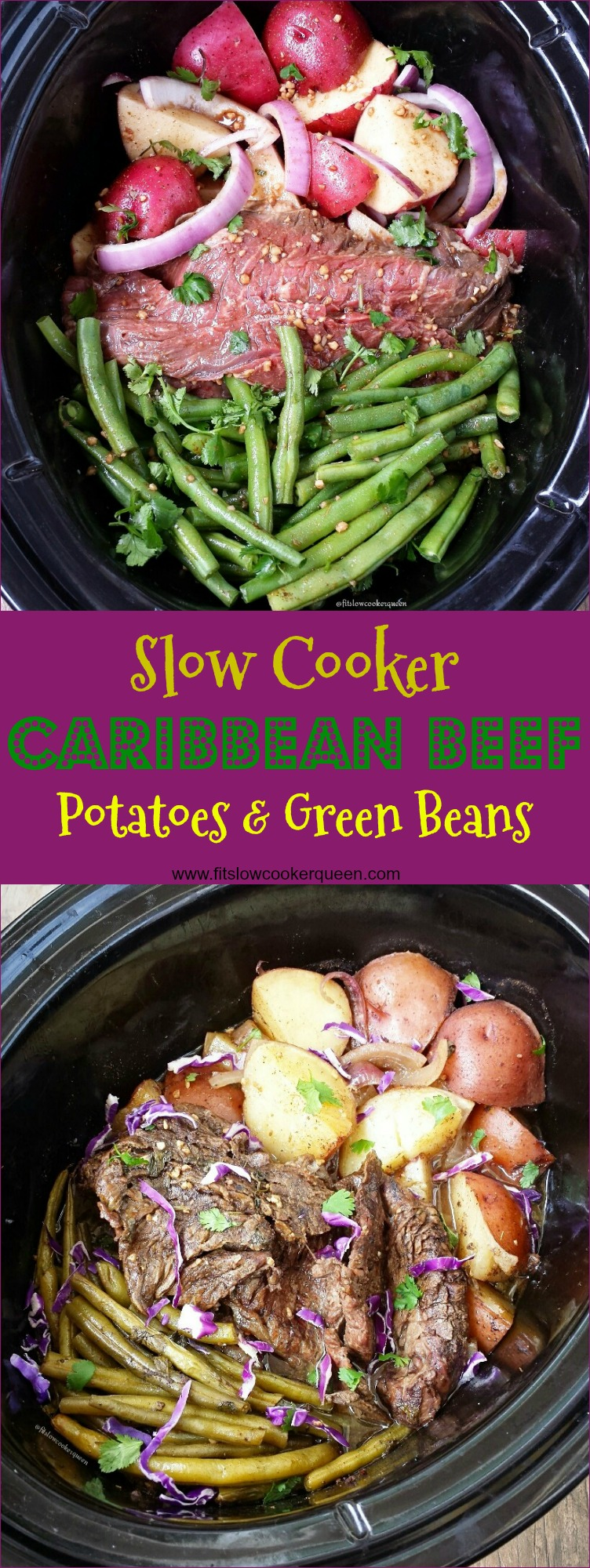 slow cooker caribbean beef potatoes green beans pin