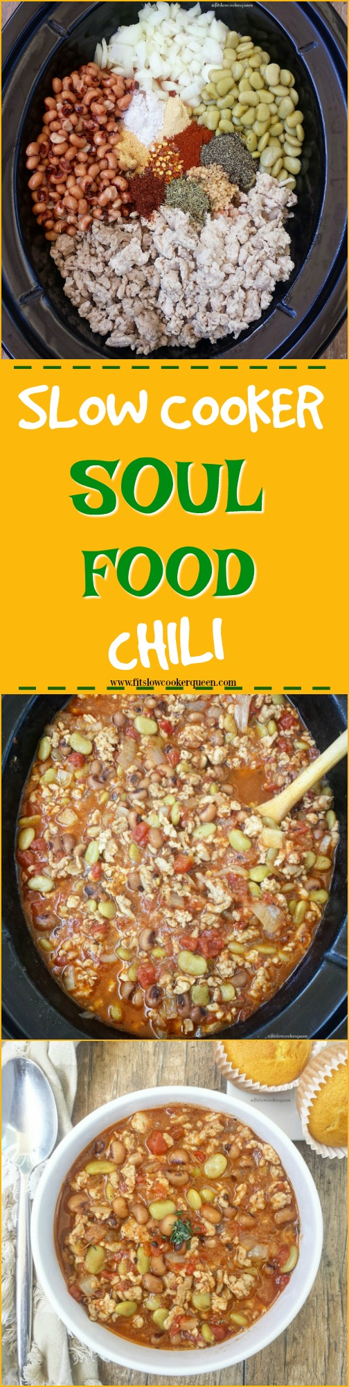 Soul food ingredients and flavors take over the slow cooker in this unique spin on chili. Not just healthy, it's quick cooking in just a couple hours.