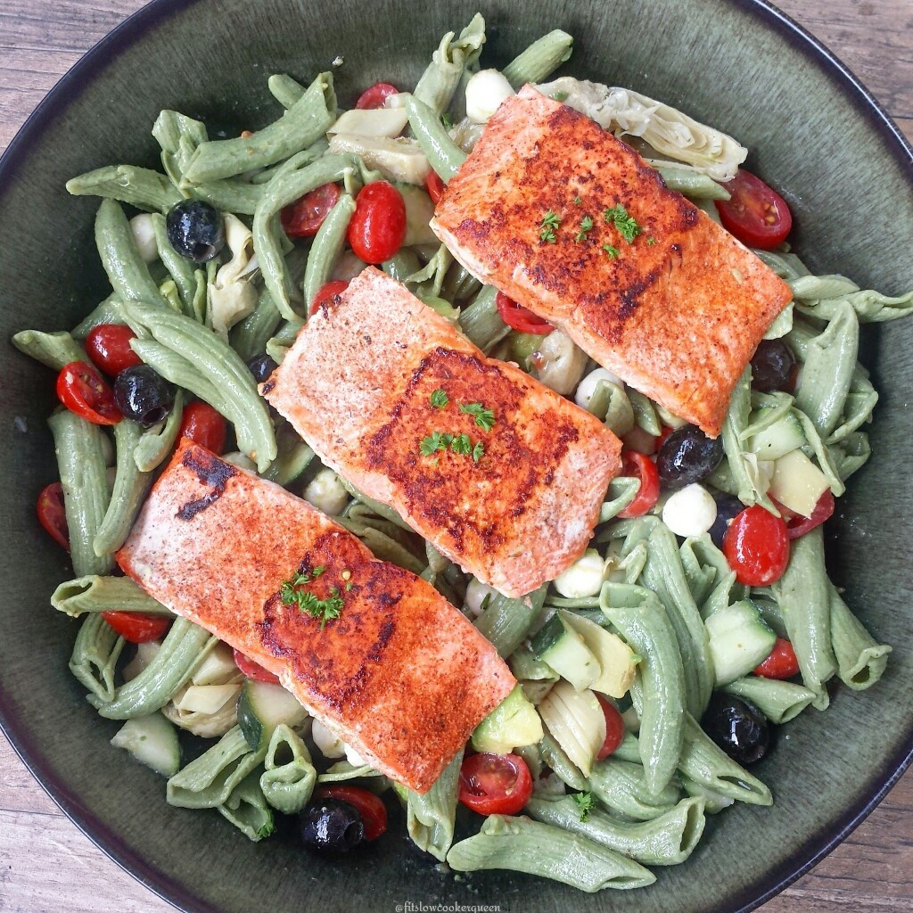 Pasta salads are a quick dish to whip up & they're perfect for potlucks and picnics. Add in grilled salmon for an easy summer meal.