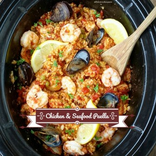 Paella in the slow cooker? Yes! Chicken and seafood are used in this easy and healthy version of paella that cooks in just a couple hours time.