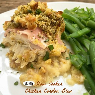 This skinny version of chicken cordon bleau uses a homemade sauce and gluten free stuffing for a healthier version of a comfort food classic.
