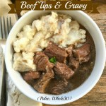 Beef tips cook with a homemade gravy in this slow cooker recipe. Comfort food made healthy! This recipe is both paleo and whole30 compliant.
