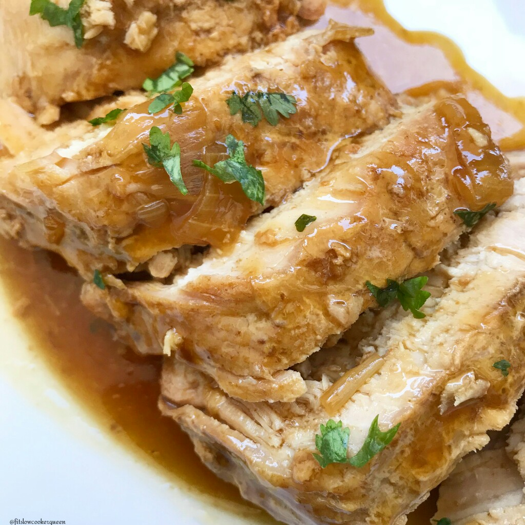 A homemade paleo teriyaki sauce that cooks on top of a pork loin is the star of this super easy and healthy slow cooker recipe.