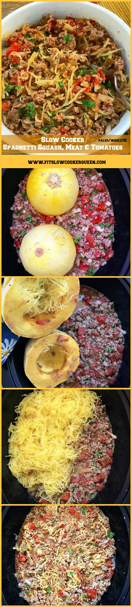 Spaghetti squash cooks in the slow cooker with your preferred ground meat, diced tomatoes, and seasonings for this simple yet healthy recipe.