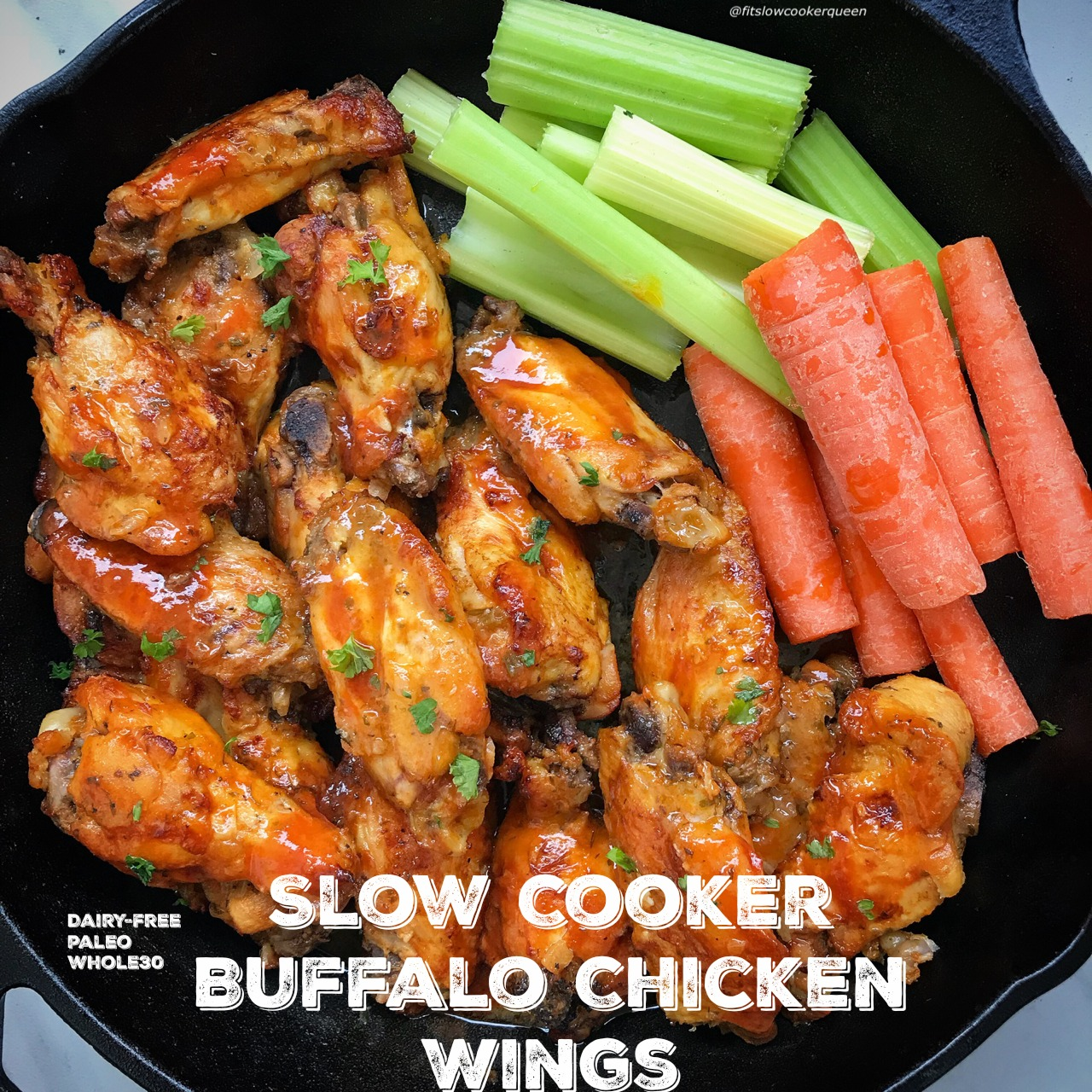 Here are healthy slow cooker buffalo chicken wings that are lactose-free, paleo, whole30, and use a homemade ranch mix! Serve these wings at your next game-day gathering, potluck or weekday snack.