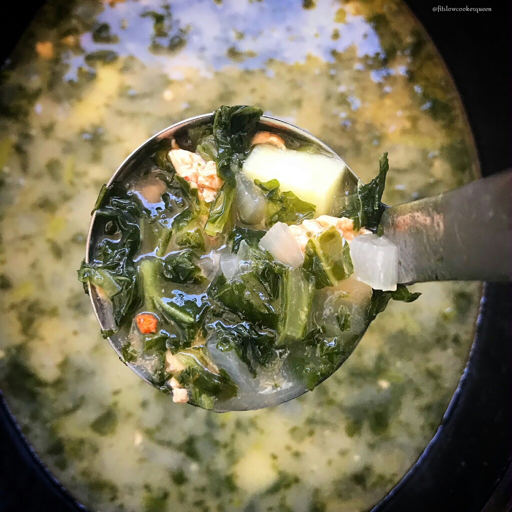 Zuppa toscana is a simple soup using sausage, kale, and potatoes. This cleaned up version is paleo, whole30, and dairy-free and cooks in your slow cooker in just a couple hours.