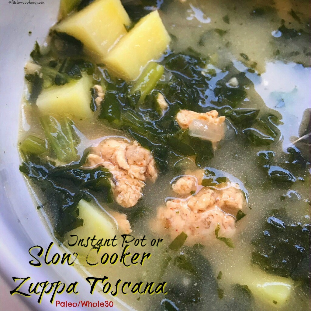 Zuppa toscana is a simple soup using sausage, kale, and potatoes. This paleo, whole30, dairy-free version can be cooked in your slow cooker or Instant Pot.