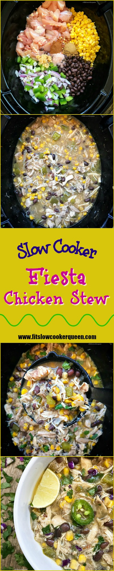 This fiesta chicken stew is definitely a party in your mouth. Bursting with flavor, this easy and healthy slow cooker recipe can be served anytime of the year.