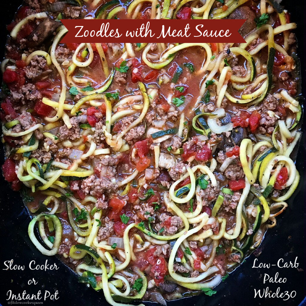 Zoodles and a homemade meat sauce cook together in this healthy paleo and whole30 slow cooker or pressure cooker recipe. With only a few main ingredients it's a great low-carb alternative to spaghetti.