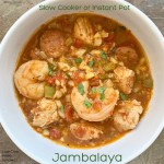 Packed with Creole and Cajun flavors, this easy jambalaya recipe uses cauliflower rice to make it low-carb, whole30, and paleo. Make this healthy jambalaya in your slow cooker or Instant Pot.
