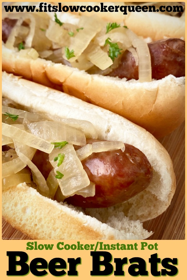 pinterest pin for {VIDEO} Slow Cooker_Instant Pot Beer Brats