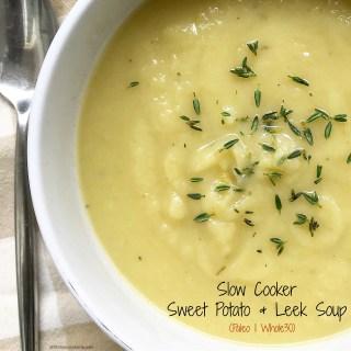 Slow Cooker Sweet Potato & Leek Soup (Paleo/Whole30)