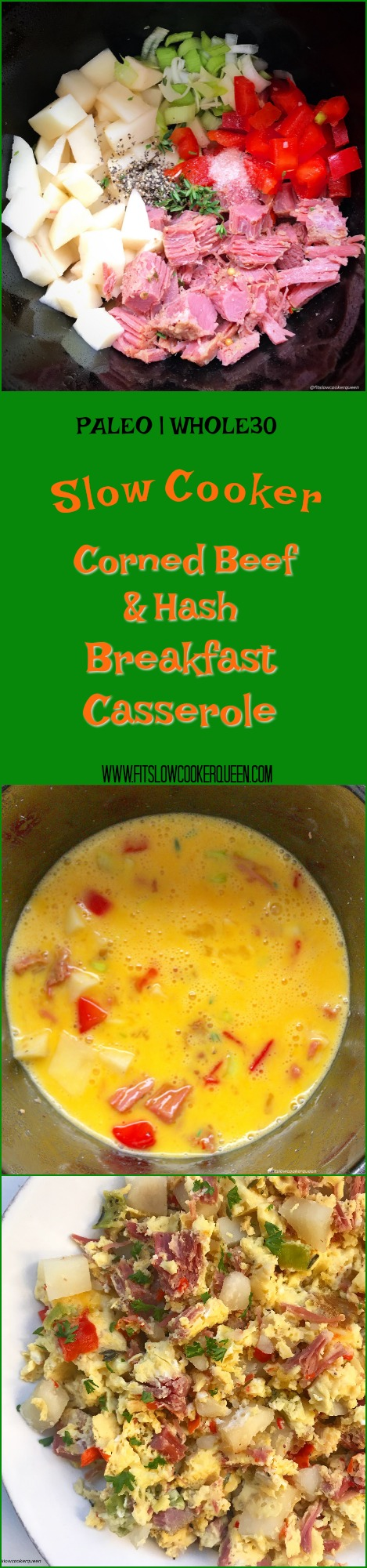 This slow cooker breakfast casserole uses leftover corned beef and potatoes (corned beef and hash) along with whatever vegetables you want to add in. Even though it's egg-based, this tasty meal that can be served for breakfast, lunch, or dinner.
