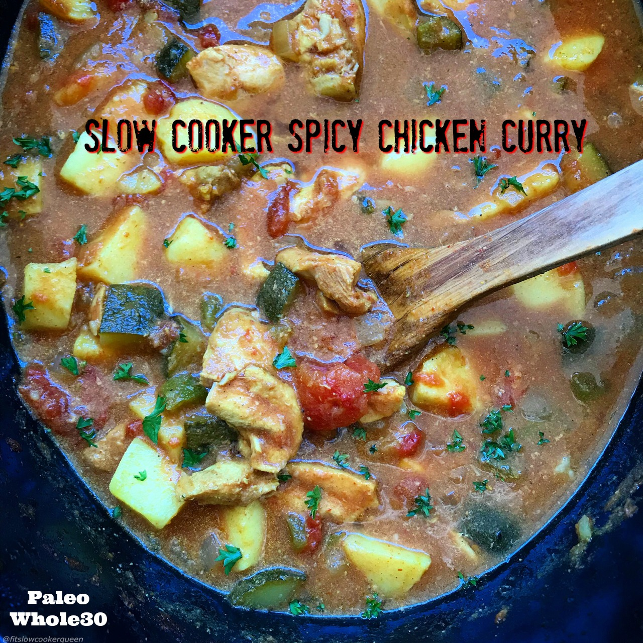 This Indian-flavored spicy chicken curry is not just an aromatic and flavorful dish, it's paleo, whole30 compliant, and super easy to make. Sit back and let your slow cooker create a delicious curry.
